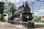 Барановичи, паровоз-памятник в честь основания железнодорожных станций, 1986 г.
